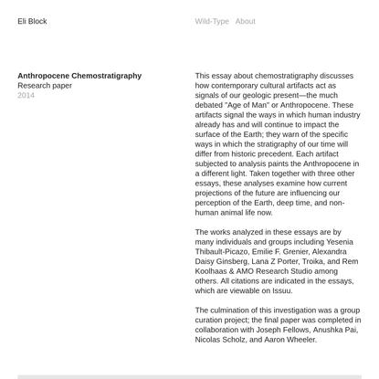 Anthropocene Chemostratigraphy - Eli Block