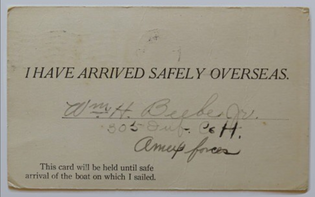 World War I Post Card from William H. Beebe, Jr. to his wife in Orient Point, 1918, Gift of Irene Case Beebe Dickerson