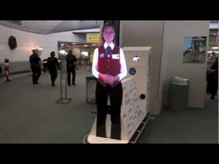 Airport Virtual Assistant Hologram-Like Projection at Newark Liberty International Airport