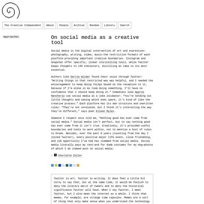 Approach: On Social Media as a Creative Tool
