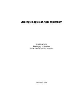 Strategic Logics of Anti-capitalism - Erik Olin Wright