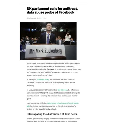 UK parliament calls for antitrust, data abuse probe of Facebook – TechCrunch