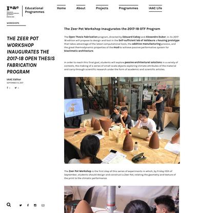 The Zeer Pot Workshop Inaugurates the 2017-18 Open Thesis Fabrication Program - IAAC Blog