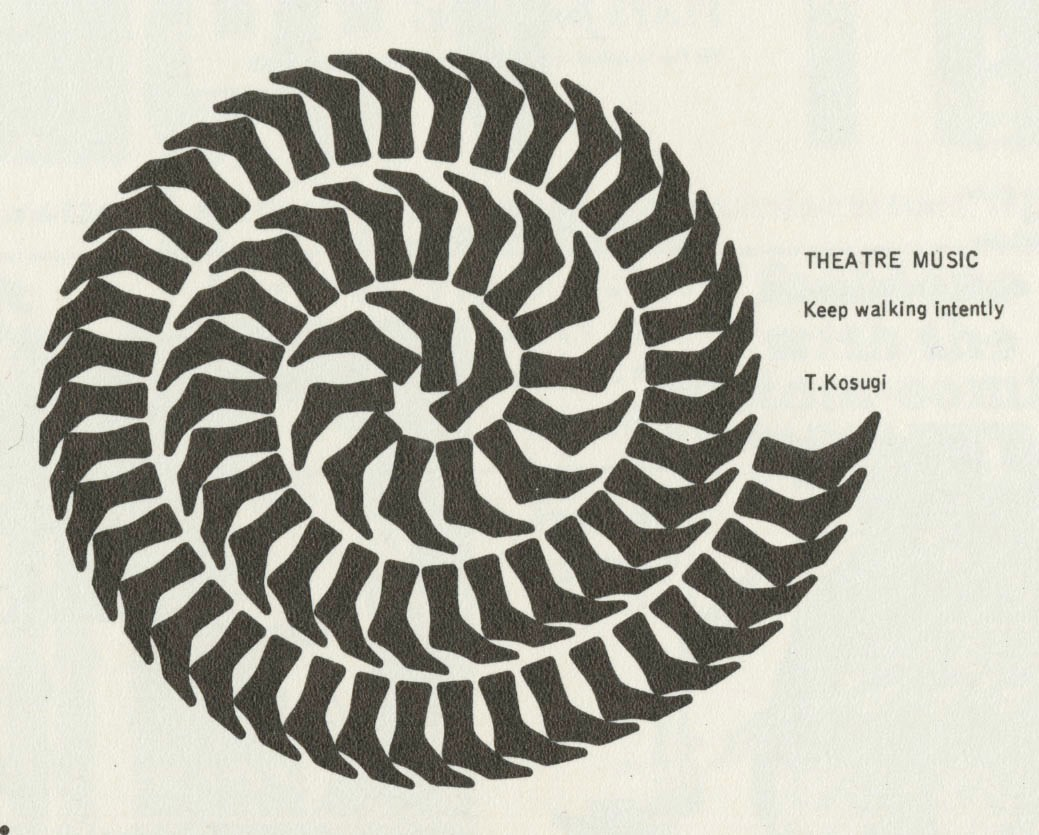 """A printed card reading """"Theater Music, Keep walking Intently, T. Kosugi"""". On the left is an image of feet, each silhouetted, and arranged in a spiral."""