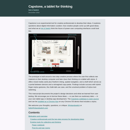 Capstone, a tablet for thinking