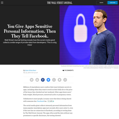 You Give Apps Sensitive Personal Information. Then They Tell Facebook. - WSJ