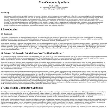 Man-Computer Symbiosis