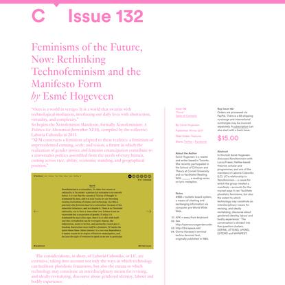 C Magazine / Feminisms of the Future, Now: Rethinking Technofeminism and the Manifesto Form