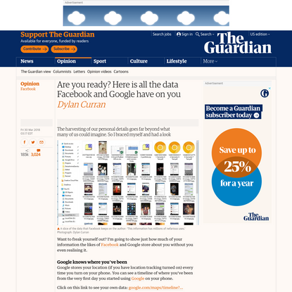 Are you ready? This is all the data Facebook and Google have on you   Dylan Curran