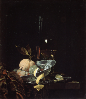 Willem Kalf, Still Life with Fruit, Glassware, and a Wanli Bowl (1659)