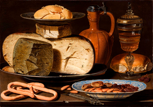 Clara Peeters, Still Life with Cheeses, Almonds, and Pretzels