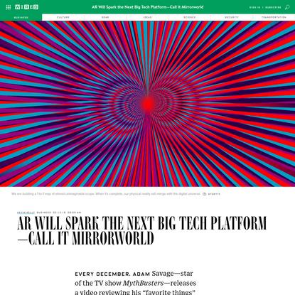 AR Will Spark the Next Big Tech Platform-Call It Mirrorworld