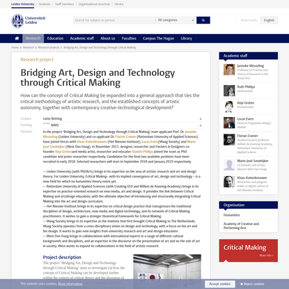 Bridging Art, Design and Technology through Critical Making
