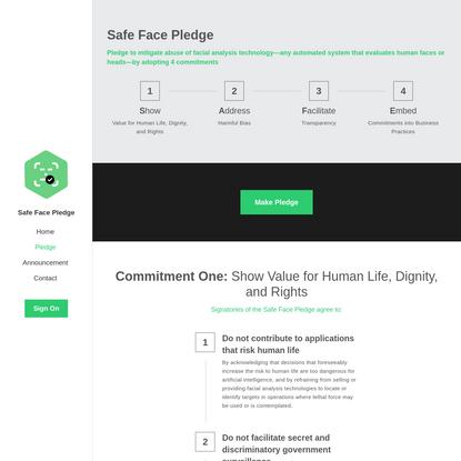 Pledge - Safe Face Pledge