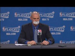 Rick Carlisle covers his mouth with Tape | Rockets vs Mavericks | Game 4 | 2015 NBA Playoffs