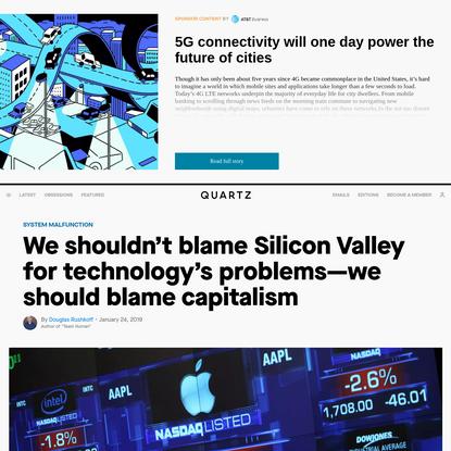 "Douglas Rushkoff's book ""Team Human"" pits capitalism against tech — Quartz"