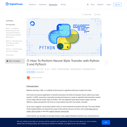 How To Perform Neural Style Transfer with Python 3 and PyTorch | DigitalOcean