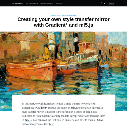 Creating your own style transfer mirror with Gradient° and ml5.js