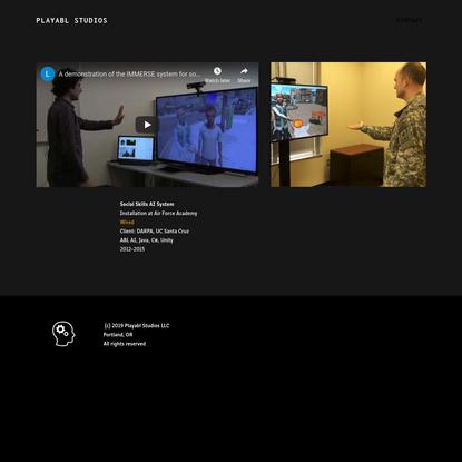 Social Skills AI system for DARPA - Playabl Studios