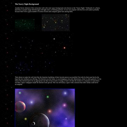 Olia Lialina. A Vernacular web. The Starry Night Background