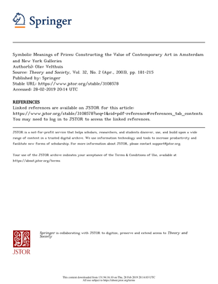 Symbolic Meanings of Prices: Constructing the Value of Contemporary Art by Olav Velthuis