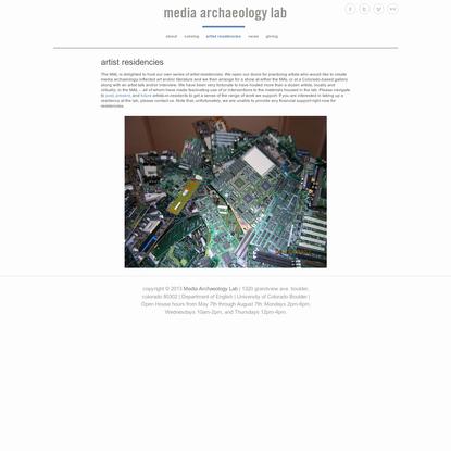 artist residencies - media archaeology lab