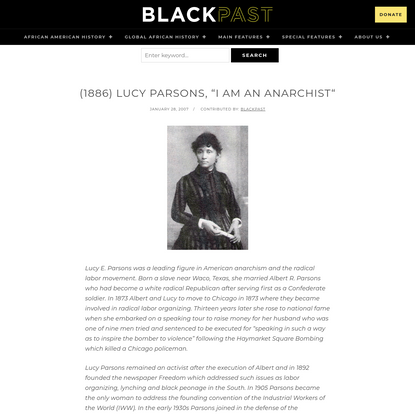 """(1886) Lucy Parsons, """"I am An Anarchist"""" * BlackPast"""