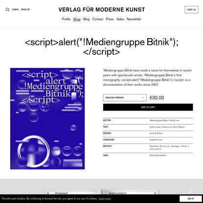 "alert(""!MediengruppeBitnik""); | VfmK Verlag für moderne Kunst"