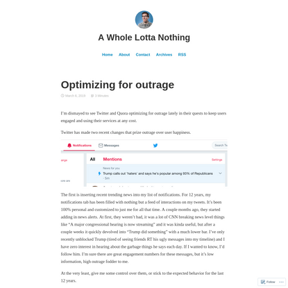 Optimizing for outrage