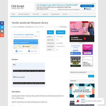 Vanilla JavaScript Marquee Library | CSS Script