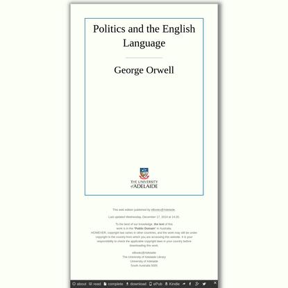 Politics and the English Language