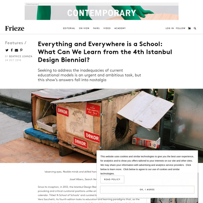 Everything and Everywhere is a School: What Can We Learn from the 4th Istanbul Design Biennial?