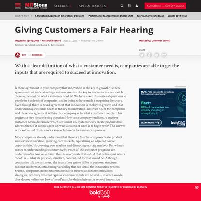 Giving Customers a Fair Hearing