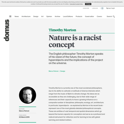 """Timothy Morton, the interview: """"Nature is a racist concept"""""""
