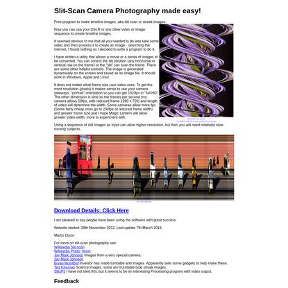 Slit Cam: Slit camera timeline images from video.