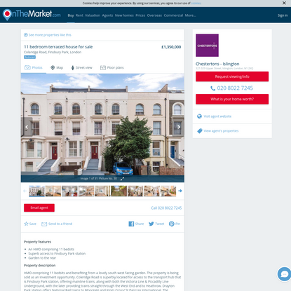 Coleridge Road, Finsbury Park, London 11 bed terraced house for sale - £1,350,000