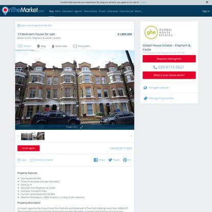 Oswin Street, Elephant & Castle, London 13 bed house for sale - £1,800,000