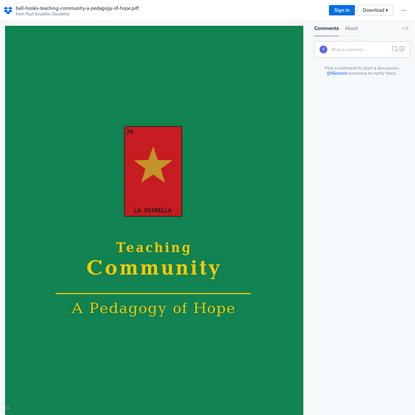 bell hooks, Teaching Community: A Pedagogy of Hope (2003)