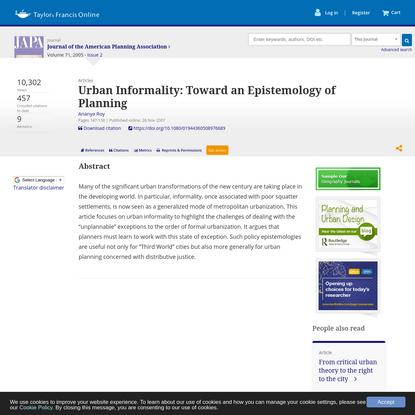 Urban Informality: Toward an Epistemology of Planning