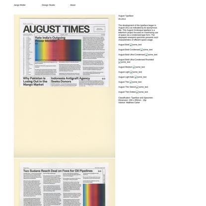 August Typeface, Jangs Müller's Portfolio