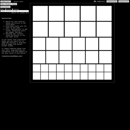 Topsters 2: Make downloadable charts of your top favorite albums and movies.