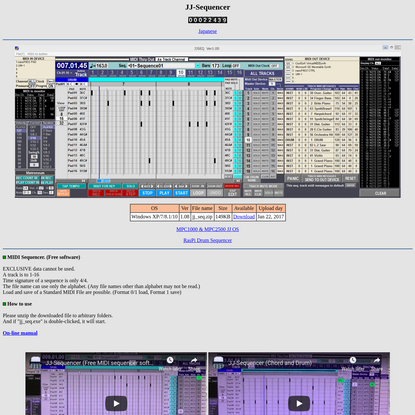"Free MIDI sequencer software ""JJ Sequencer"""