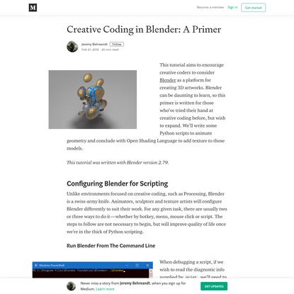 Creative Coding in Blender: A Primer