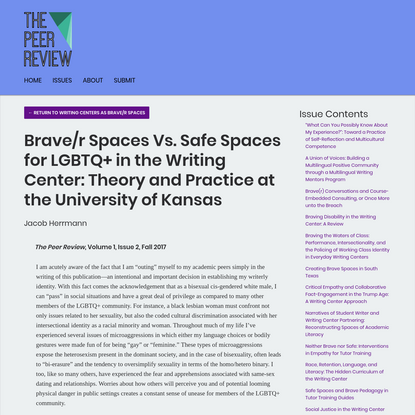 Brave/r Spaces Vs. Safe Spaces for LGBTQ+ in the Writing Center: Theory and Practice at the University of Kansas