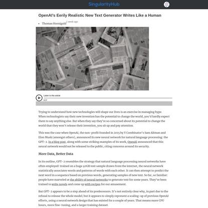 OpenAI's Eerily Realistic New Text Generator Writes Like a Human