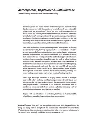 Donna Haraway, Anthropocene, Capitalocene, Chthulhucene