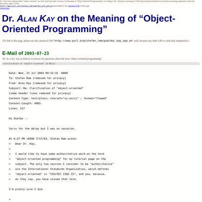 "Dr. Alan Kay on the Meaning of ""Object-Oriented Programming"""