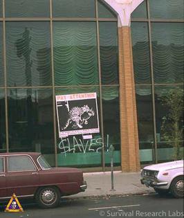 Early SRL prank: poster/billboard on a Wells Fargo bank branch