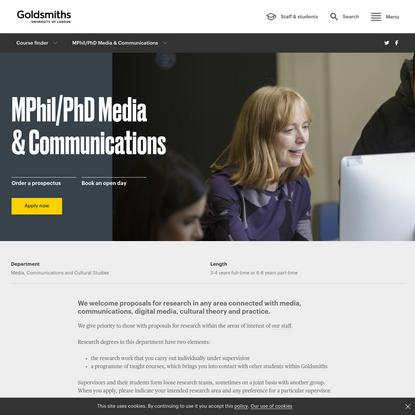 MPhil/PhD Media & Communications