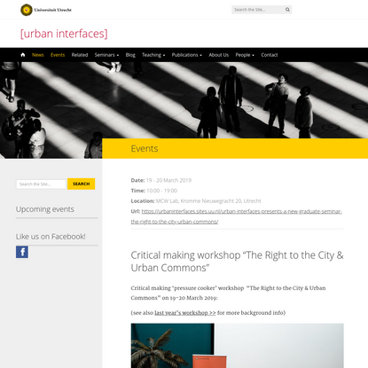 "Critical making workshop ""The Right to the City & Urban Commons"""
